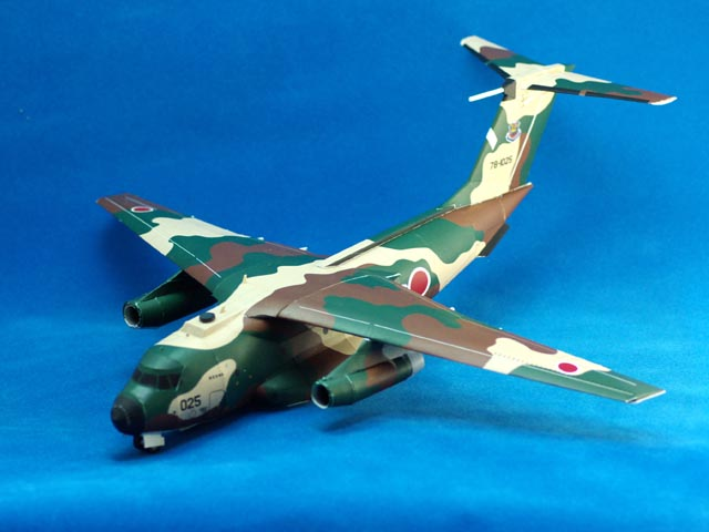 Maqueta 3D recortable del avión Kawasaki C-1. Manualidades a Raudales.