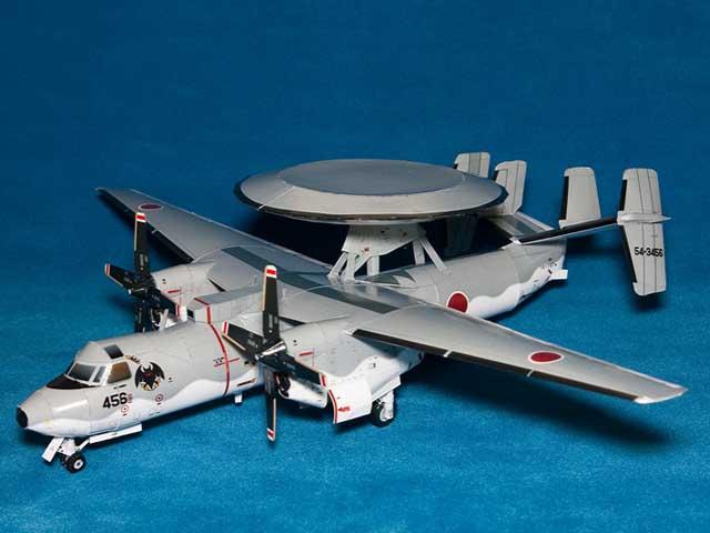 Maqueta 3D del avión E-2C Hawkeye. Manualidades a Raudales.